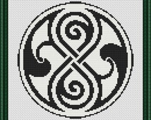 Doctor Who Gallifreyan Symbol Seal of Rassilon Time Lords Counted Cross Stitch Pattern in PDF for Instant Download