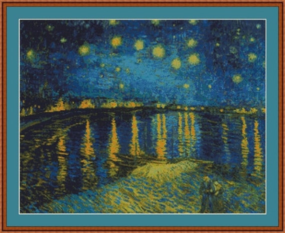 Starry Night over the Rhone by Vincent Van Gogh Counted Cross Stitch ...