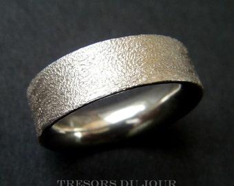 Modern MENS WEDDING RING of Concave  Design 'Caleche' Textured Surface Designer Wedding Ring Custom 10k 14k 18k White Gold Platinum