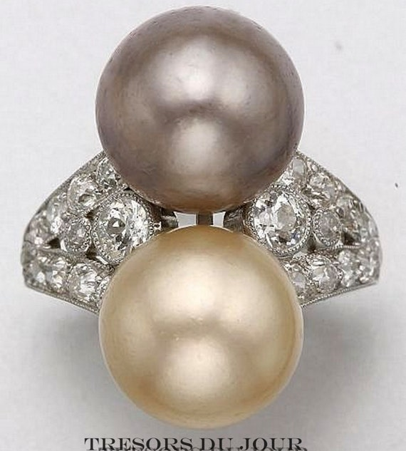 pearl ring pearl statement ring with diamonds and millegrain