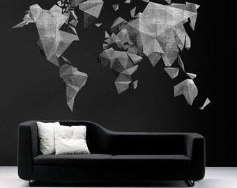 World Map Cement Effect Decal - Large World Map Vinyl Wall Sticker - World Map Wall Sticker