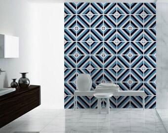 Diagonal - Mid Century - Tile Stickers - Tile Decals - Staircase - Kitchen Backsplash - Bathroom - Pack of 48 - SKU:DIGMI