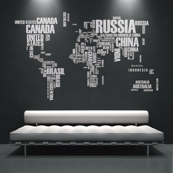 World map wall decals wall stickers country names text like this item gumiabroncs Images