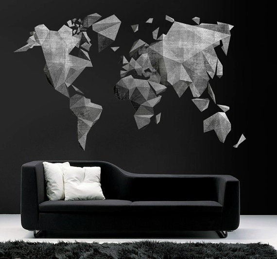World map cement effect wall decal large world map like this item gumiabroncs Choice Image