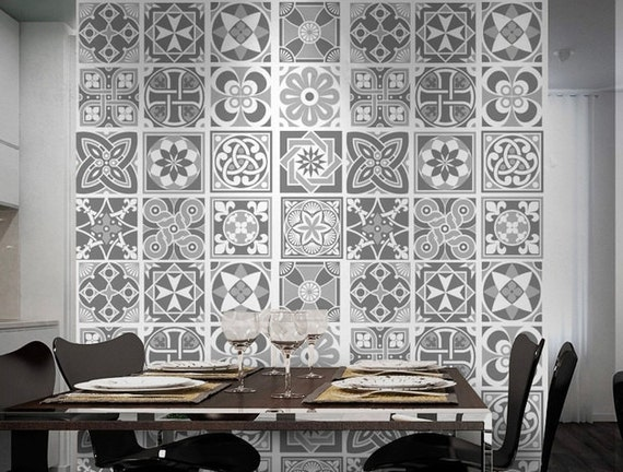 Grey Scale Tile Stickers - Tiles Decals - Tiles for Kitchen Backsplash or Bathroom - PACK OF 16 - SKU:GreyScaleTiles