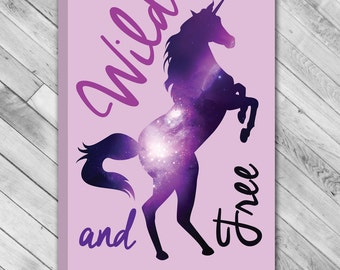"Purple Space Unicorn - Wild and Free - 12""x18"" Wrapped Canvas Wall Art"