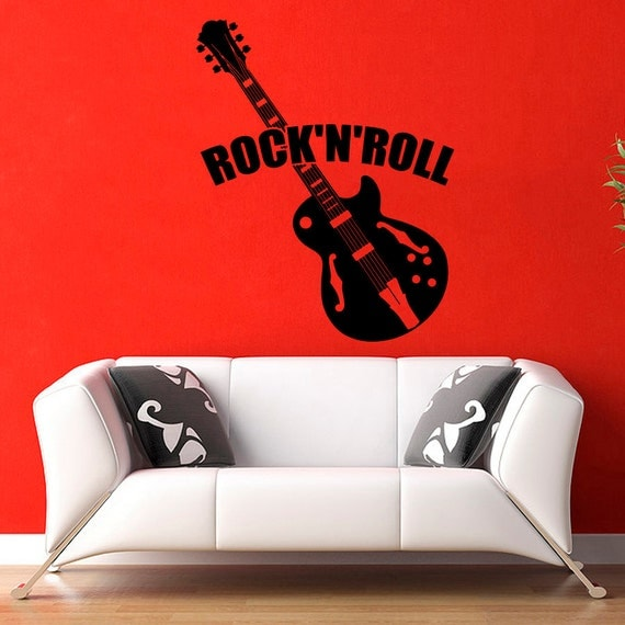 Wall Decor Music Theme : Vinyl wall decals music theme guitar rock and roll decal