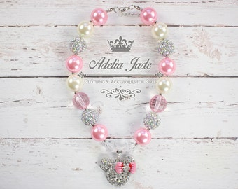 Chunky Bubblegum Necklace, Pink Minnie Mouse Necklace, Baby Girl Chunky Necklace, Girls Bubblegum Necklace, Bubble Gum Children Necklace