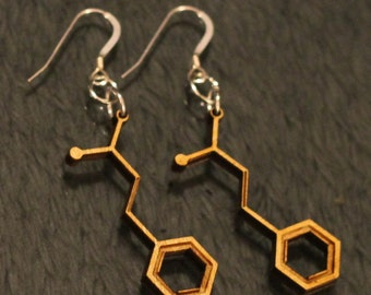 Laser Cut Cinnamaldehyde Molecule Earring -- Cinnamon Flavor and Scent