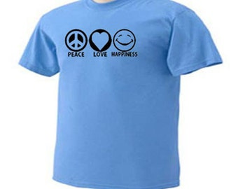 KIDS Peace Love Happiness Smiling Face T-Shirt