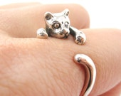 Realistic Miniature Kitty Cat Shaped Animal Wrap Around Ring 925 Solid Sterling Silver   US Sizes 3 to 8 for Women   Handmade Animal Jewelry