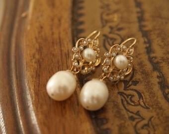 Gold Pearl earrings,dangle gold pearl earrings,seed pearl earrings ,vermeil pearl earrings,yellow gold pearl earrings