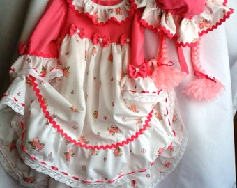 baby girl doll costume, toddler pink doll 3 piece costume , handmade costumes for children , originalhalloween costumes for kids