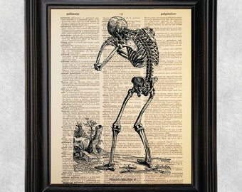 Vesalius Human Skeleton Anatomy, Medical Art, Dictionary Print, Printed on Vintage Dictionary Paper, Recycled, Upcycled, 8x10 Print (#143)