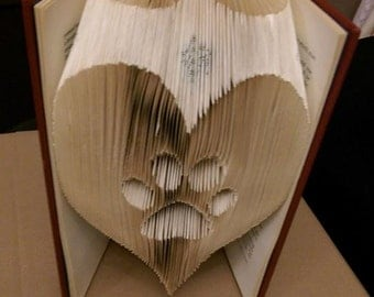 Paw in a heart Folded Book Art **Pattern**  PDF Book Folding Book Origami Dog Cat Vet free instructions/ tutorial