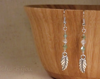 Silver Feather Dangle Earrings - Pale Olive
