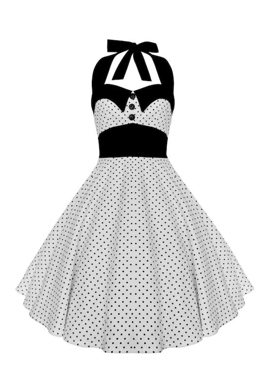 Rockabilly Dress Pin Up Dress White Polka Dot Dress Plus Size