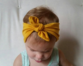 Mustard Yellow Top Knot Headband Headwrap Turban|Baby Toddler Girl Adult Woman