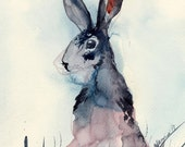 Nursery art - Blue bunny watercolor digital print A4 8x11 hare painting. Jackrabbit drawing, wall art for home, unusual gift for birthday