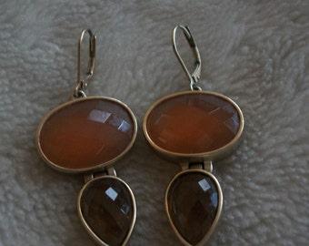 Anne Klein -- earring ,brass, glass stone