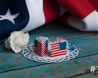 Handmade American Flag Cake Earrings Polymer Clay