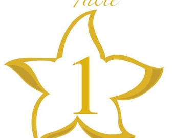 Gold Starfish Table Numbers, Beach Theme