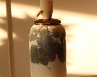 Royal Copenhagen, Denmark desk lamp, handpainted mid century scandinavian porcellain table lamp.