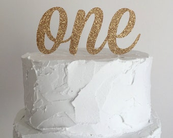 40% OFF! Rose Gold Glitter First Birthday Cake Topper - number ONE