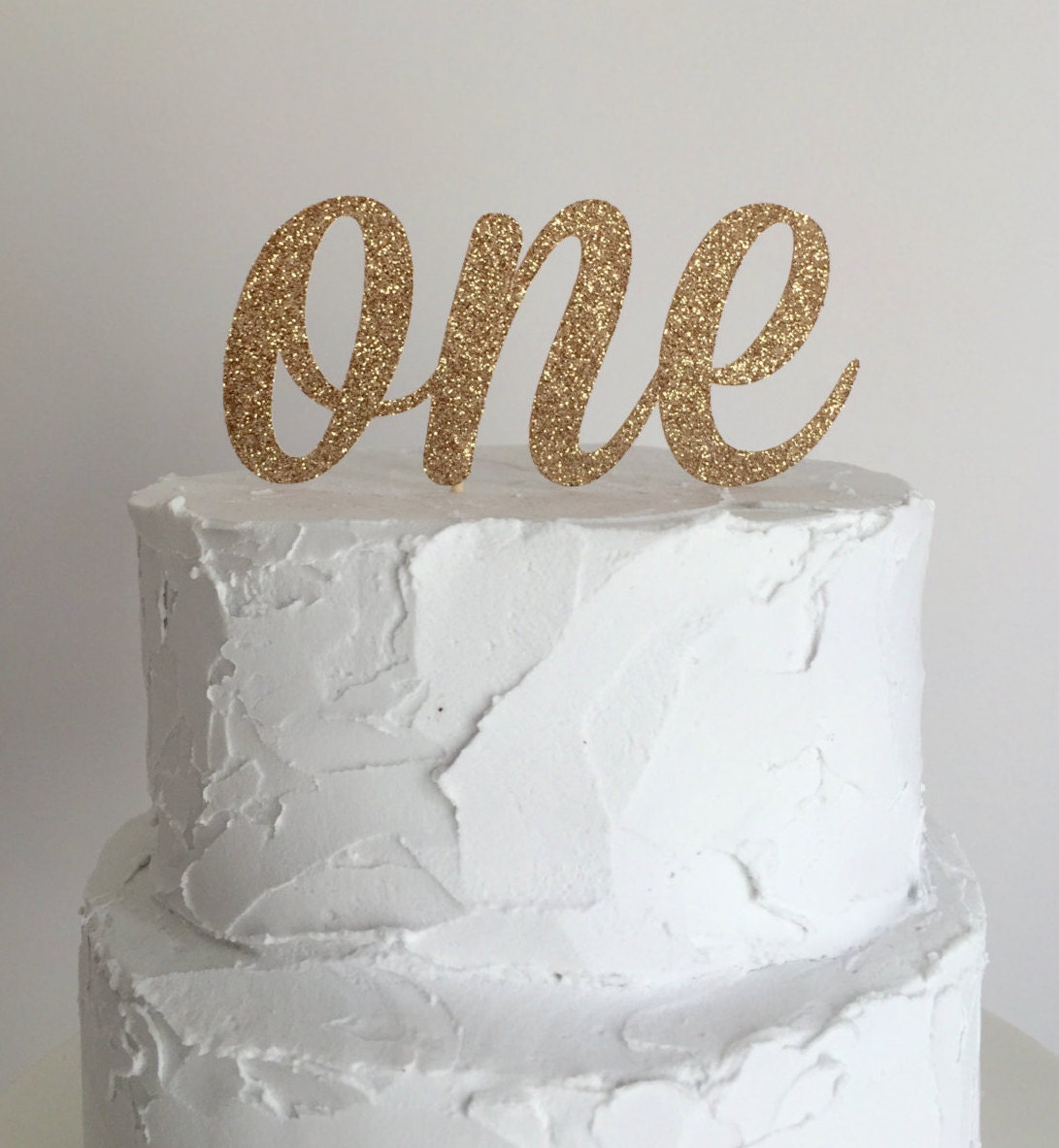 Cake Toppers For Birthday : Rose Gold Glitter First Birthday Cake Topper by mikaspartyshop