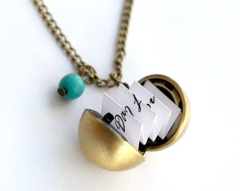 Secret Message Necklaces, antique brass Ball Locket Necklace, custome message, Personalized Locket, gift for mom, Boyfriend Girlfriend Gift
