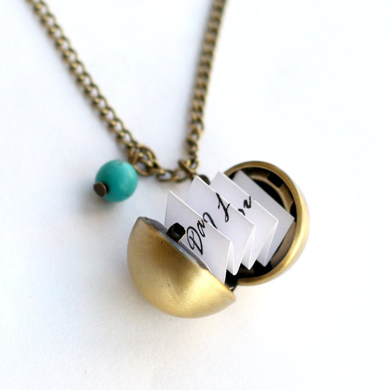 Secret message necklaces antique brass ball locket necklace for Cute jewelry for girlfriend