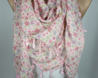 Floral Scarf Soft Pink Scarf Shawl Spring Summer Scarf Tassel Scarf Lace Edge Scarf Women Fashion Accessories Christmas Gift Ideas For Her