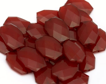 SANGRIA Dark Red Acrylic Beads, Burgundy Wine Rectangle Polygon Beads, Faceted Flat Nugget Maroon Bead, Big Chunky Translucent  34mm x 24mm