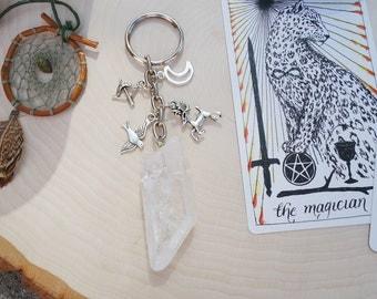Artemis Diana Greek Roman Goddess Raw Quartz Crystal Key Chain - Light and Protector of Vulnerable