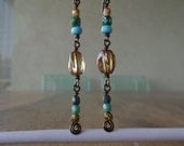 Golden Brown, Turquoise, Celsian & Picasso Czech Glass Bronze Earrings