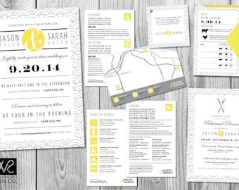 Art Deco Wedding Invitation Design Suite - Customized - Digital Files Only – Printable