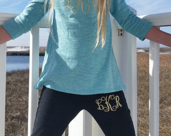Girls Monogrammed Black Yoga Pants