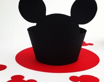 Mickey Mouse Cupcake Wrappers - party supplies - cake decorations