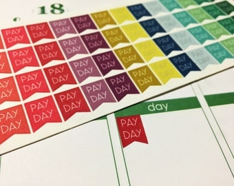 60 Mini Pay Day Flag Stickers with option to customize for Erin Condren Life Planner and Plum Paper Planner!