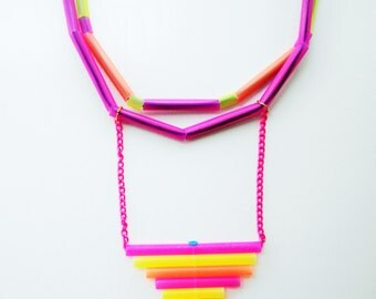 colorful necklace, multistrand necklace, geometric neon jewelry, upcycled neon necklace, modern necklace, colorful eclectic gift for her