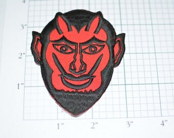 Red Devil Patch, Iron-On Vintage Embroidered Patch Satan Patch Demon Evil Outlaw Biker Patch Jacket Patch Vest Patch Sewing Applique s18