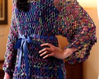 INSTANT DOWNLOAD PDF,  Crochet Lacy Tunic Pattern,  Digital File Crochet Pattern -