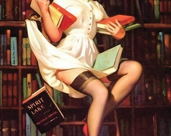 "Vintage Pinup Art Girl // ""Lovely Librarian"" by Gil Elvgren // 5""x7"" Printable Digital Download // Easy to Shrink"