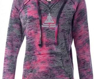 Ladies Lotus Pose Lightweight Hoodie Yoga Tee Shirt - W1162-LOTUS