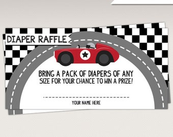 Instant Download - Vintage Red Racing Car Baby Shower Diaper Raffle Card - Race Car Game Card