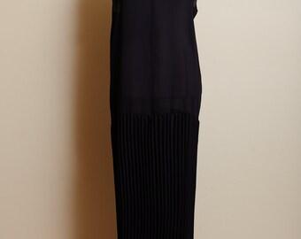 Vintage 1990s Black Sheer Sleeveless Drop Waist Dress with Pleated Skirt