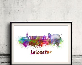 Leicester skyline in watercolor over white background with name of city 8x10 in. to 12x16 in. Poster Wall art Illustration Print - SKU 0385