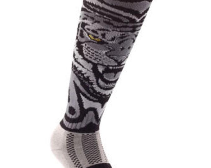 Samson® White Tiger Animal Funky Socks Sport Knee High Sport Football Rugby Soccer