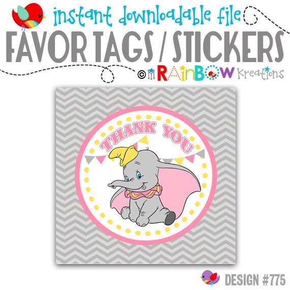 FVTAGS-775: DIY - Vintage Elephant Favor Tags or Stickers - Instant Downloadable File