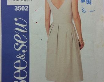 See & Sew 3502 Misses' Dress, Cross Back Dress.  Size 8-10-12